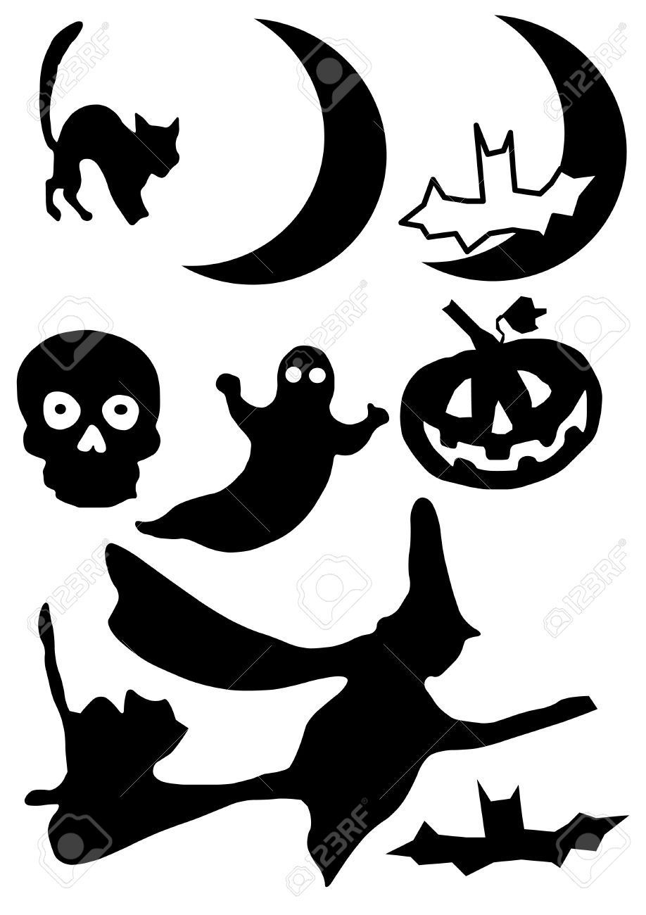 medium resolution of vector vector illustration of halloween clip art images in silhouette