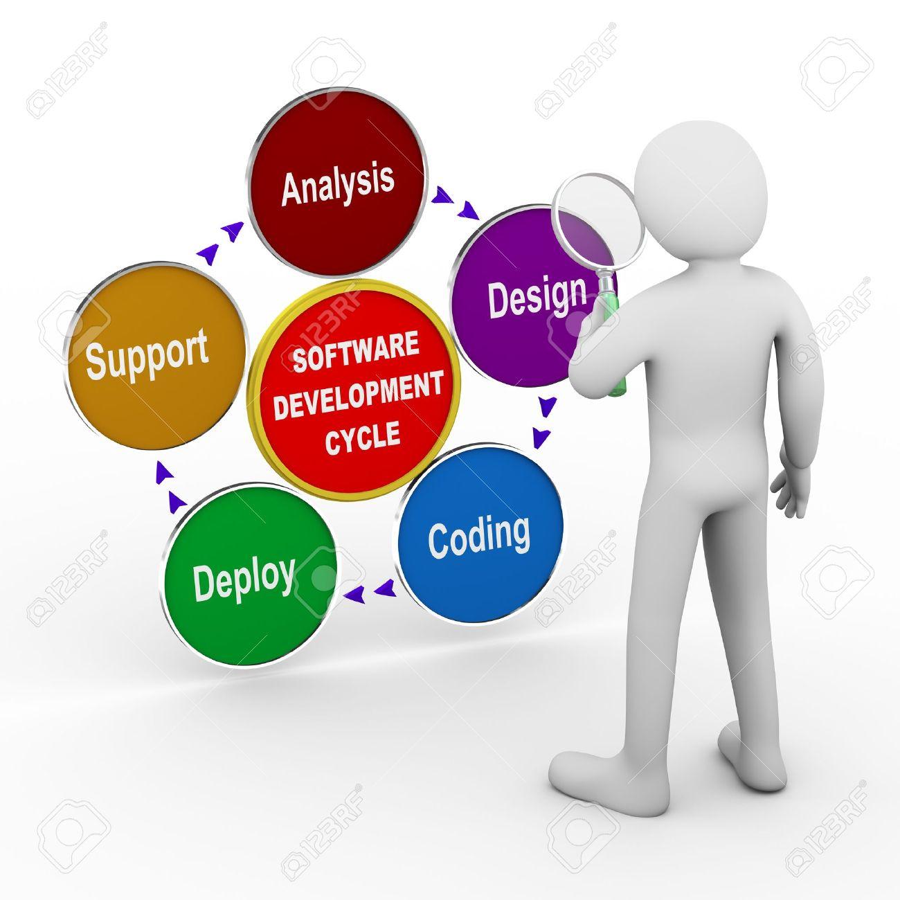 hight resolution of 3d illustration of man with magnifier analysing circular flow chart of life cycle of software development