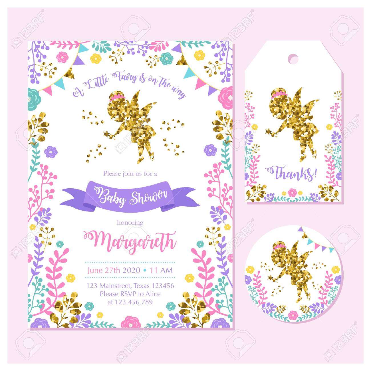 fairy birthday invitation set with card label and thank you
