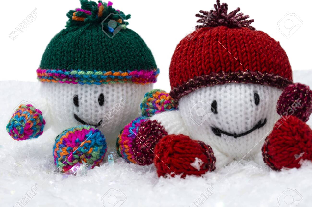 Snowballs Knitted Christmas Decorations With Hat And Scarf On Stock Photo Picture And Royalty Free Image Image 133962557