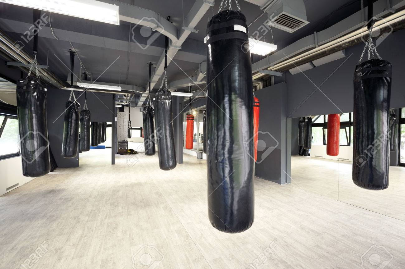 punching bags in gym