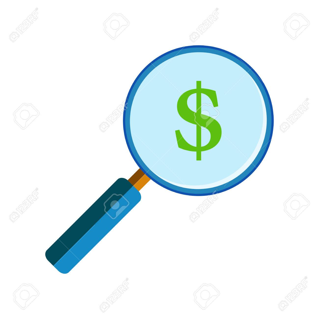 hight resolution of blue magnifying glass with green dollar sign on white background flat style benefit and
