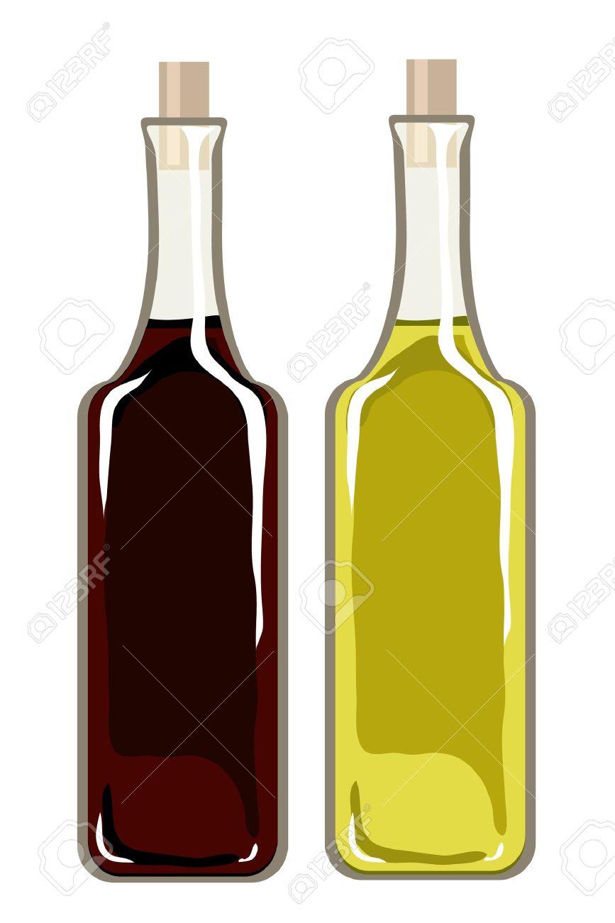 une illustration de vecteur de bouteilles d huile d olive et vinaigre balsamique isole sur blanc