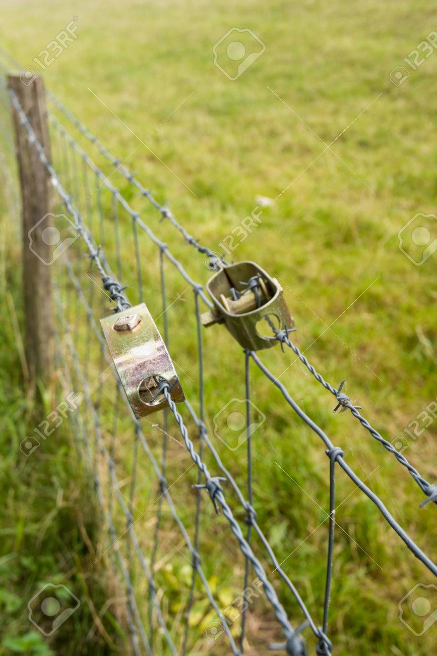 Two New Wire Stretchers Tensioning The Barbed Wire Of The Fence Stock Photo Picture And Royalty Free Image Image 44176922