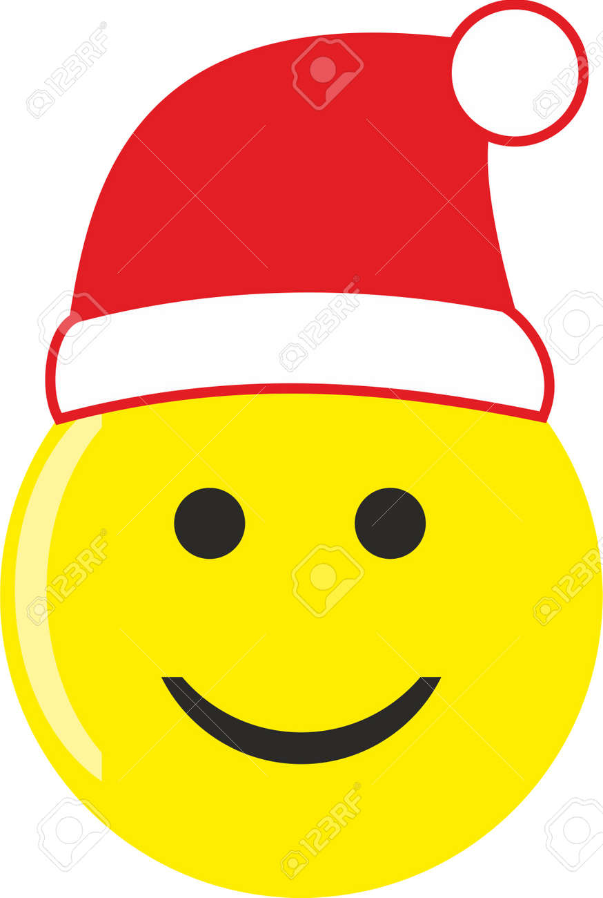 medium resolution of a smiley face with santa hat isolated on white stock vector 90880981