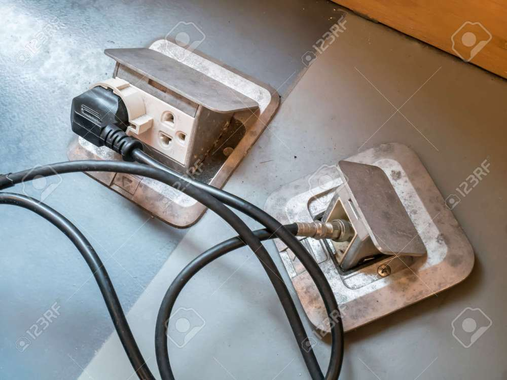 medium resolution of floor power socket plug and electric wire stock photo 96271292