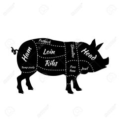 Pork Butcher Cuts Diagram Dodge Ram Wiring 2007 Or Pig American Us Of Barbecue Illustration Meat