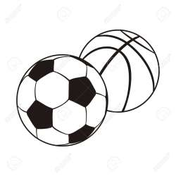 Monochrome Set Ball For Football And Basketball Black White Royalty Free Cliparts Vectors And Stock Illustration Image 54644435
