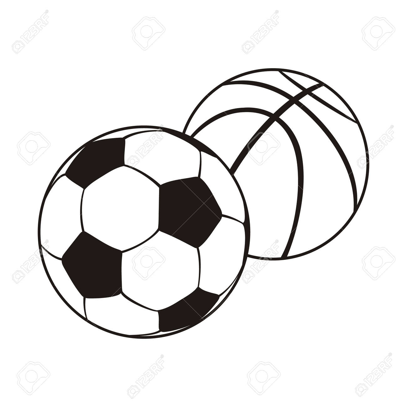 hight resolution of monochrome set ball for football and basketball black white sports balls for playing football and