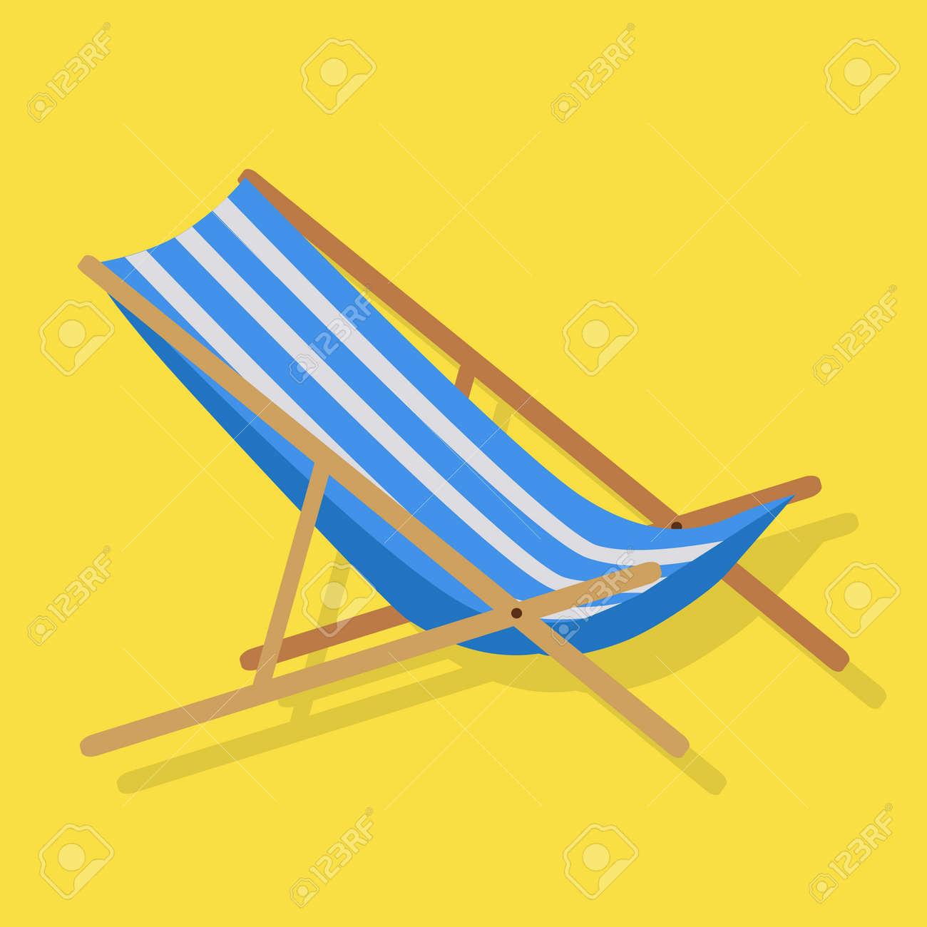 Simples Rayures Blanches Plage D été En Bois Chaise Chaise Transat Bleu  Design Plat Isolé Sur Jaune Vector Illustration b1fc540f824b