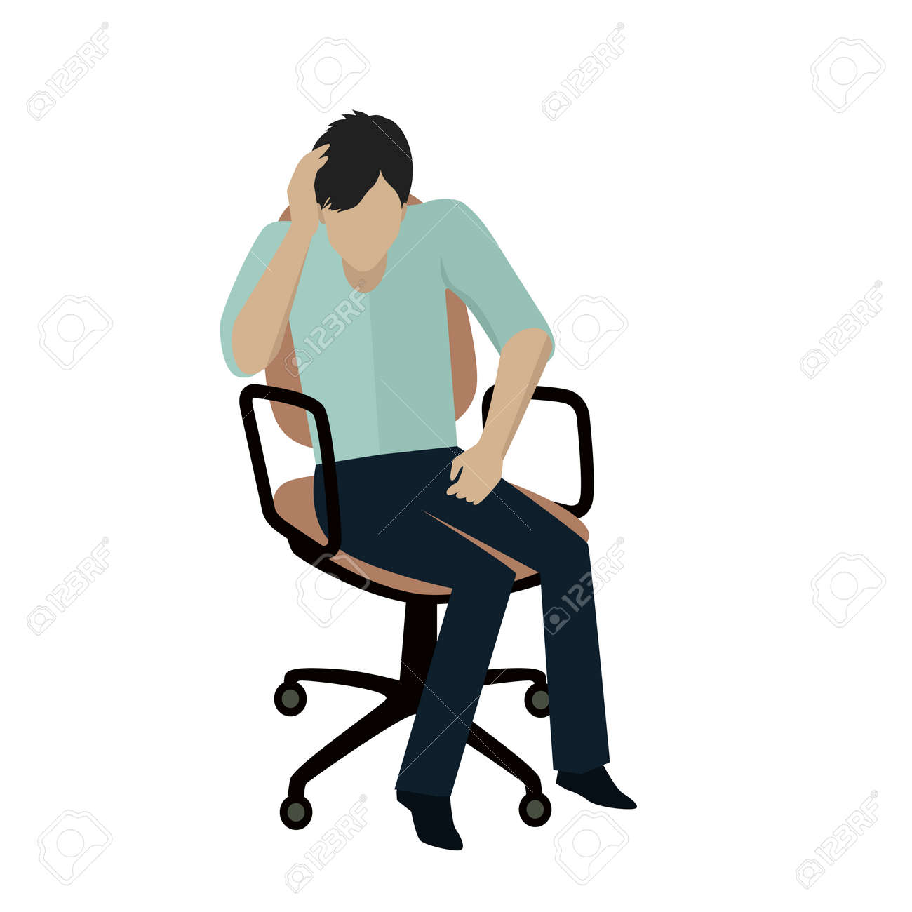 Chair Pants Man In Light Blue Shirt And Blue Pants Sitting On Office Armchair
