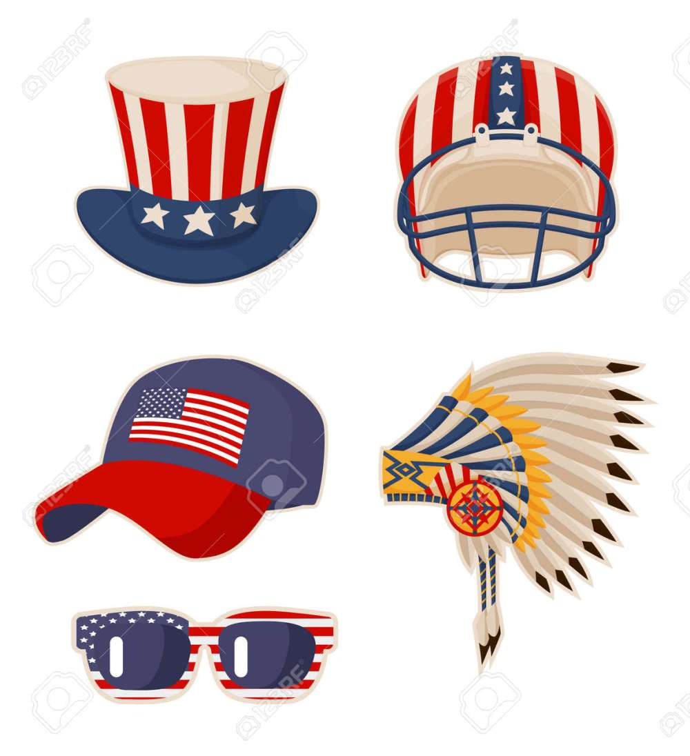 medium resolution of flag on items usa symbols cap and old glory indian headdress with feathers