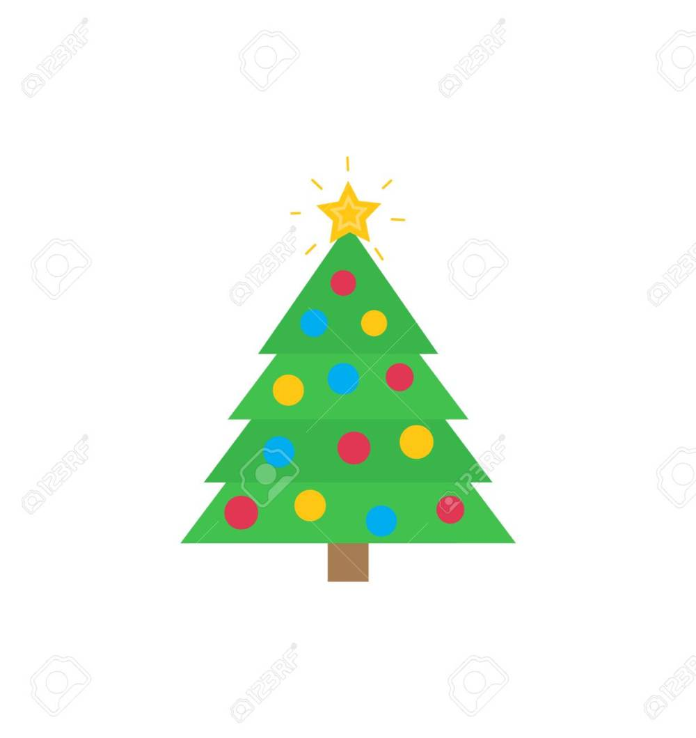 medium resolution of christmas tree with traditional decorations star bauble vector flat cartoon clipart or illustration of