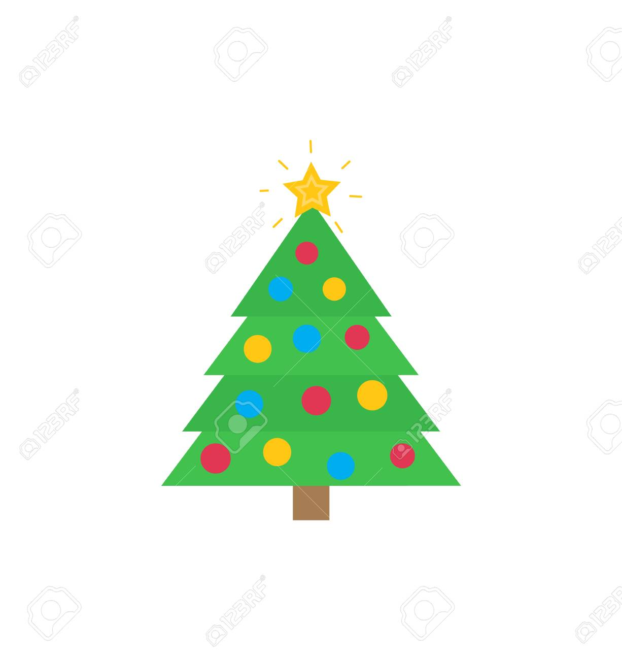 hight resolution of christmas tree with traditional decorations star bauble vector flat cartoon clipart or illustration of