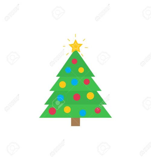 small resolution of christmas tree with traditional decorations star bauble vector flat cartoon clipart or illustration of