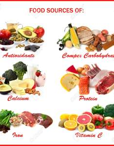 Chart showing food sources of various nutrients each isolated on white includes antioxidants also rh rf