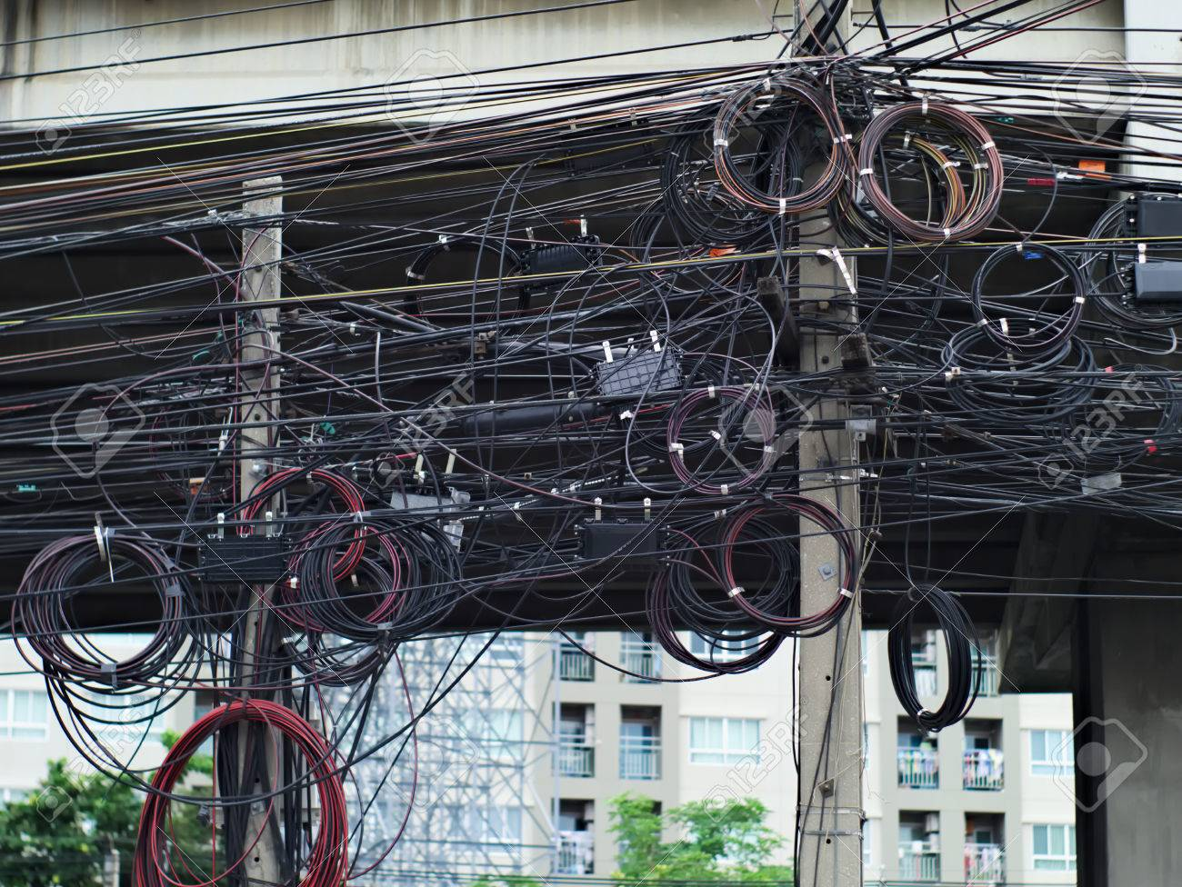 hight resolution of messy electric and telephone lines on poles in bangkok thailand stock photo 65727438