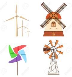 farm windmill electric wind turbine paper pinwheel vector set alternative ecology energy flat [ 1300 x 1300 Pixel ]