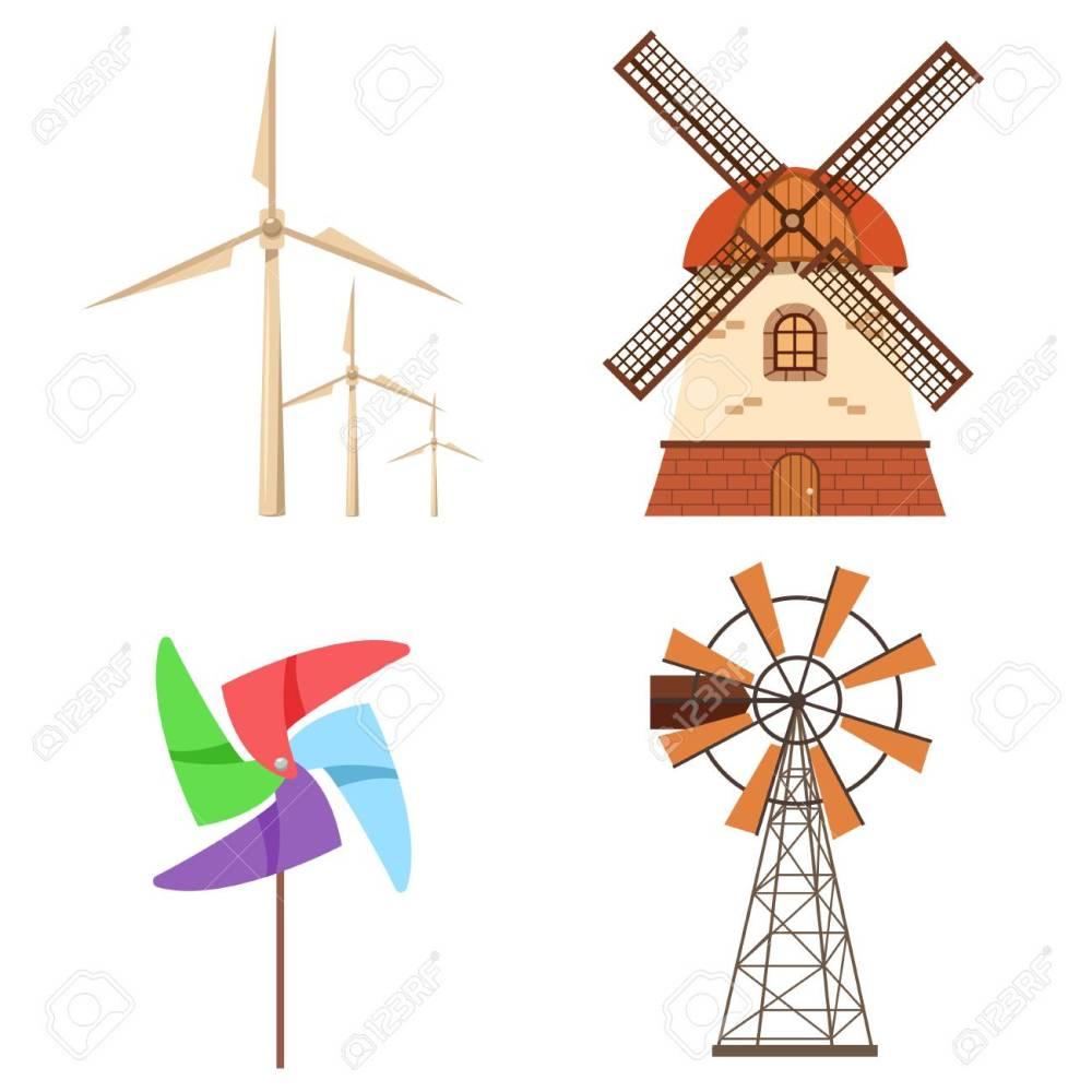 medium resolution of farm windmill electric wind turbine paper pinwheel vector set alternative ecology energy flat
