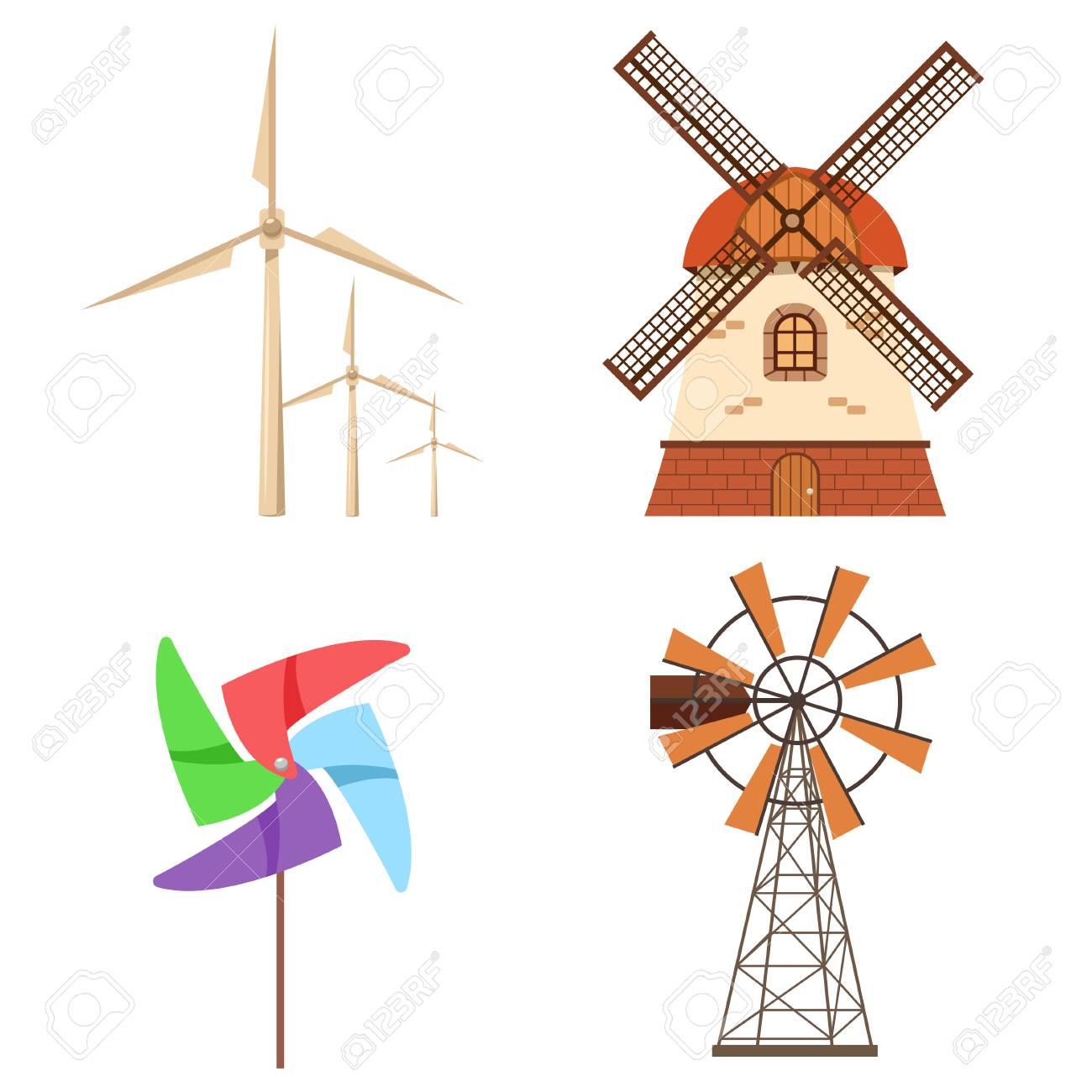 hight resolution of farm windmill electric wind turbine paper pinwheel vector set alternative ecology energy flat