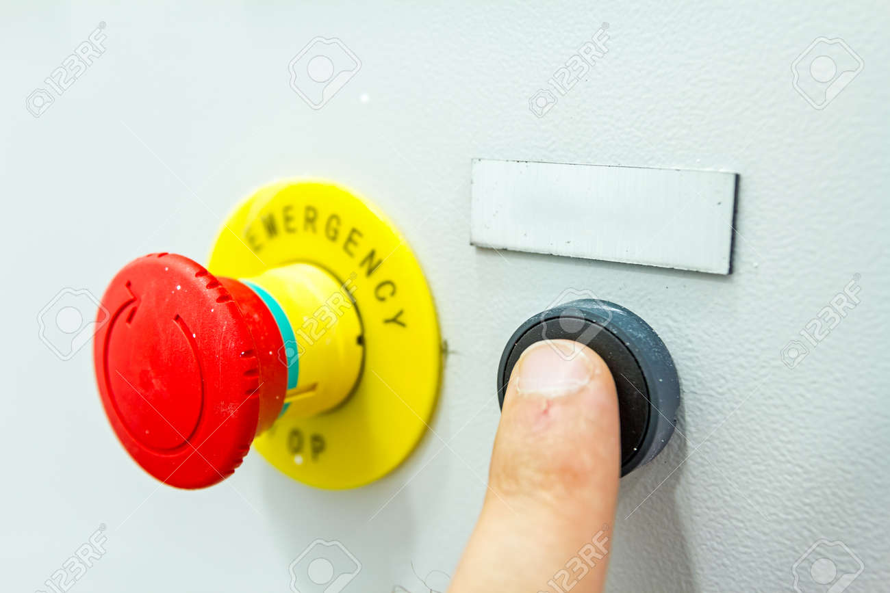 hight resolution of reset fuse box with emergency red shutdown panic button stock
