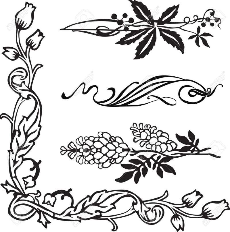 Art Nouveau Ornament Corners And Dividers Stock Vector 12718634