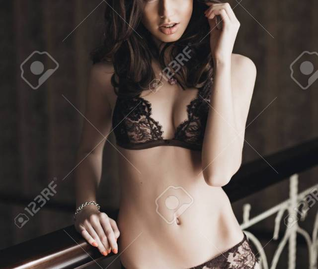 Beautiful Brunette Model In Expensive Lace Lingerie Stock Photo 30154426