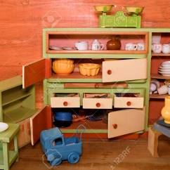 Wooden Toy Kitchen Stainless Steel Outdoor Vintage Toys For Girls Stock Photo Picture And