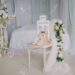 Chair Accessories For Weddings Futon Bed Bridal On A White With Flowers Perfume Shoes Clothing Concept Stock Photo