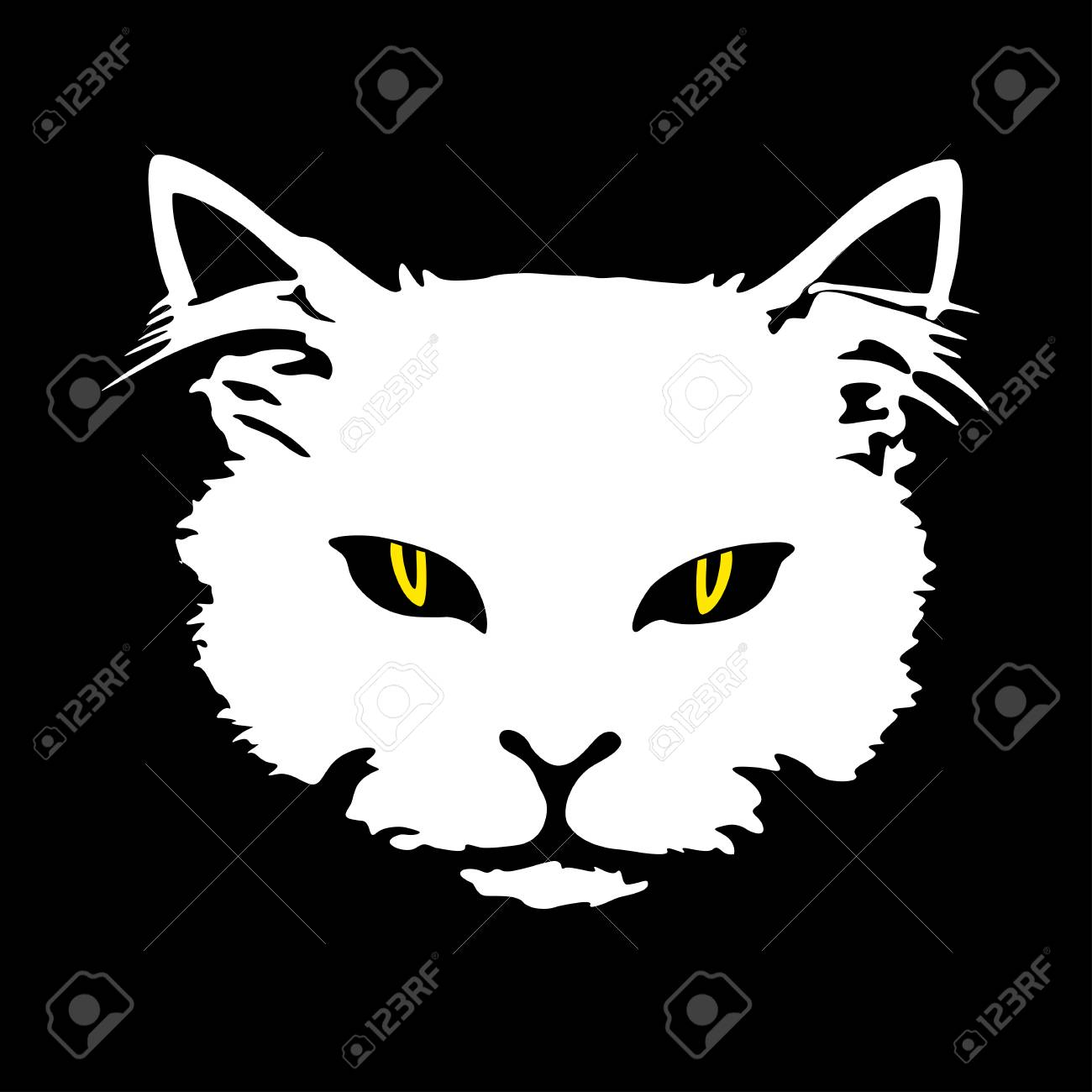 silhouette white cat face