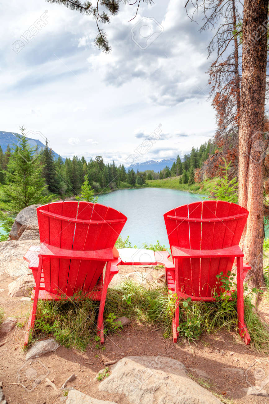Red Adirondack Chairs Two Red Adirondack Chairs Overlooking The Valley Of The Five
