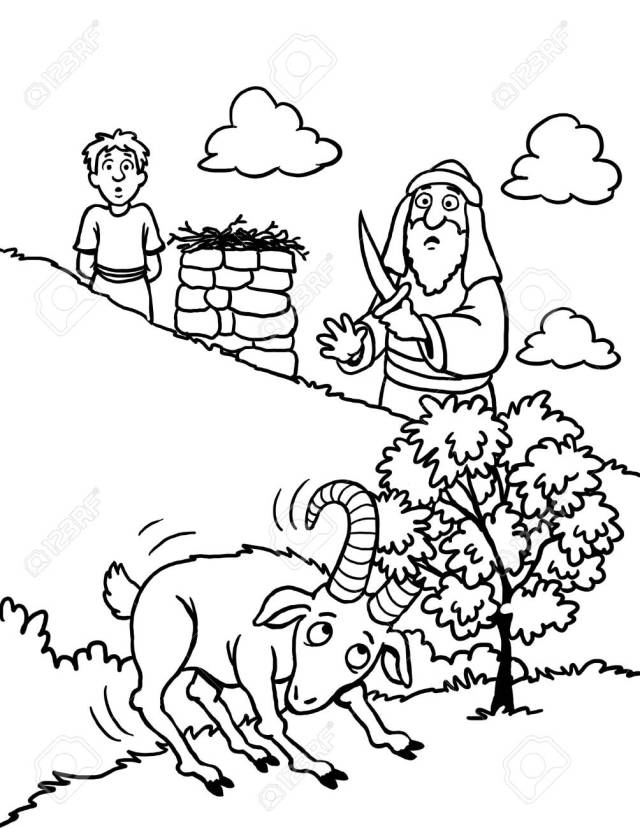 Coloring Page Of Abraham And Isaac Stock Photo, Picture And