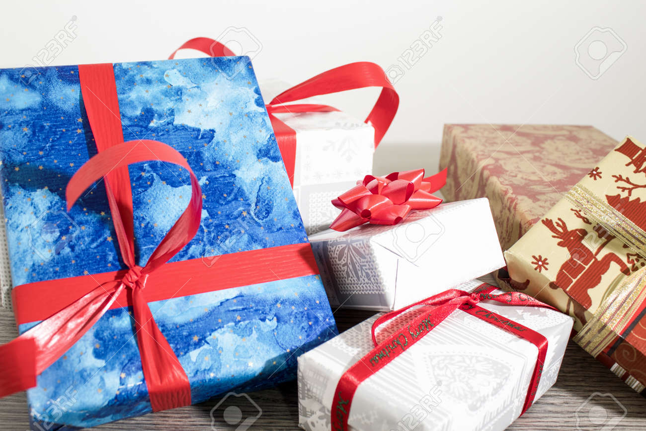 christmas gifts with colored