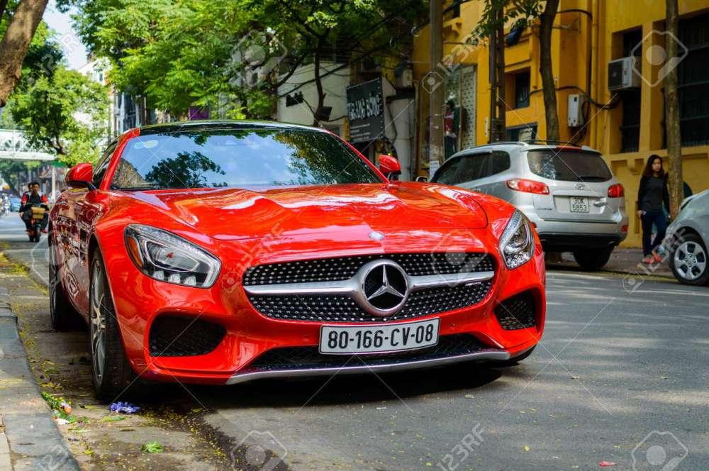 medium resolution of hanoi vietnam may 15 2015 mercedes benz sls amg car with open