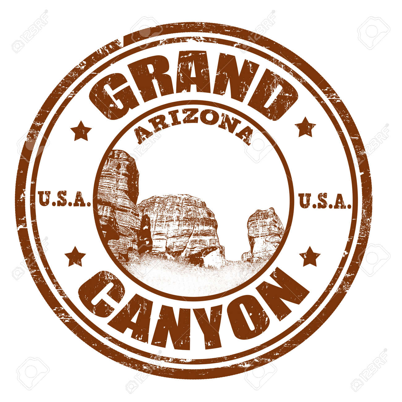 hight resolution of grunge rubber stamp with the name of the grand canyon from united states of america written
