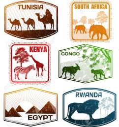 stylized passport grunge rubber stamps of various african countries vector illustration illustration [ 1143 x 1300 Pixel ]