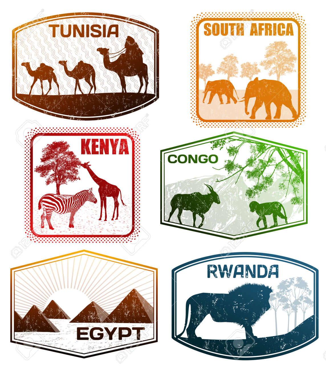 hight resolution of stylized passport grunge rubber stamps of various african countries vector illustration illustration