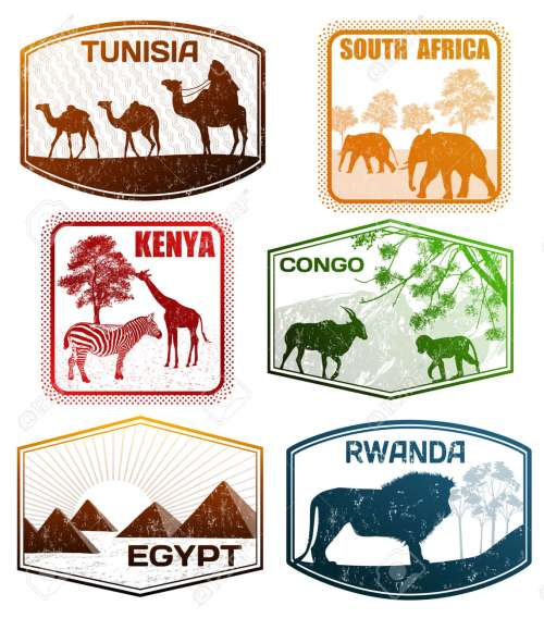 small resolution of stylized passport grunge rubber stamps of various african countries vector illustration illustration