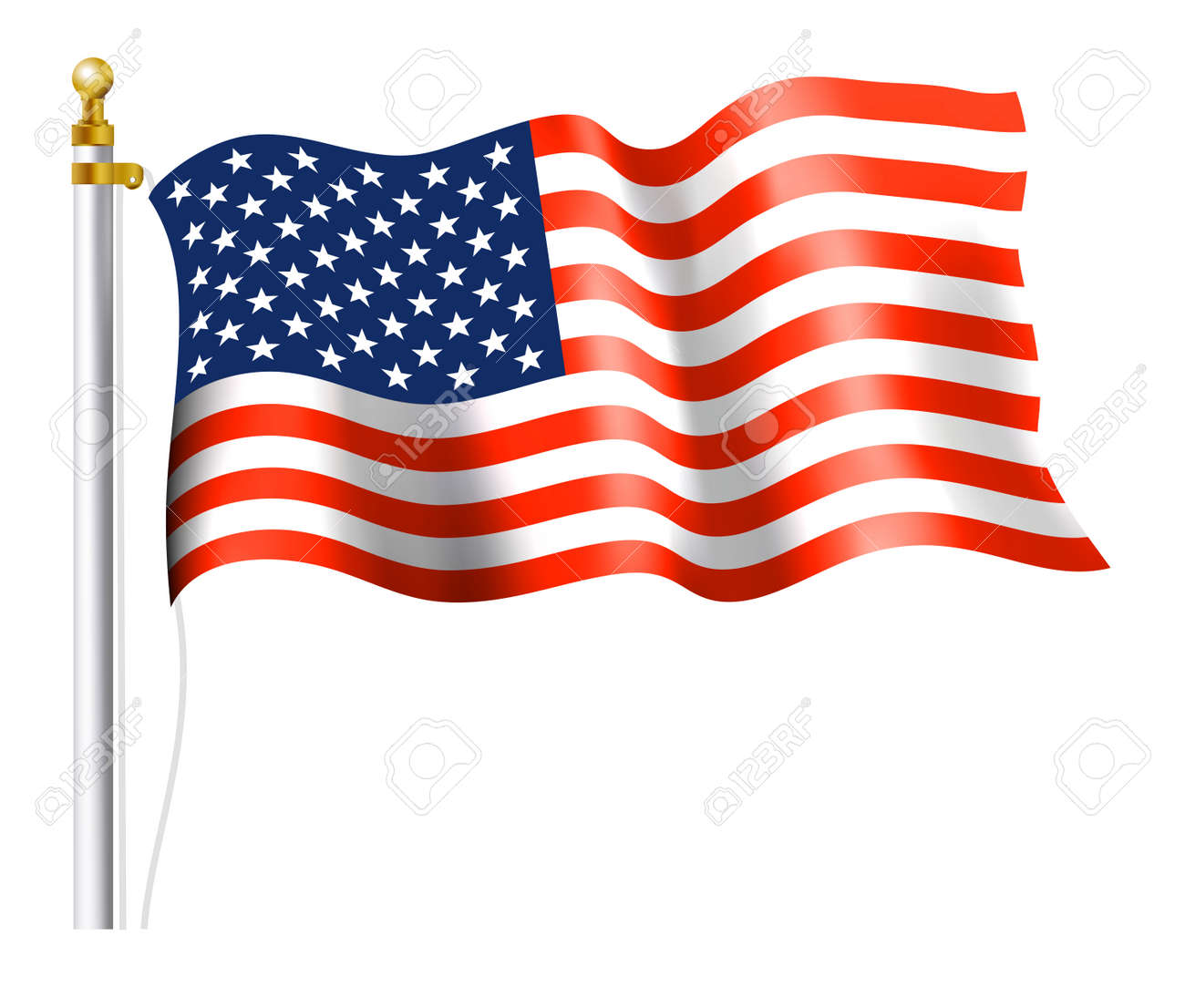 hight resolution of american flag on flag pole stock vector 31062306
