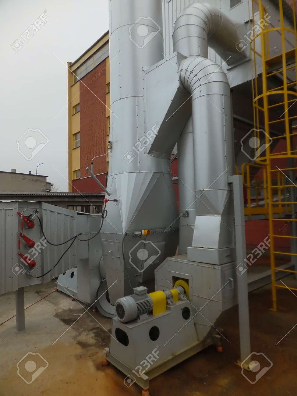 dust collector and chimney and exhaust fan for small coal boiler