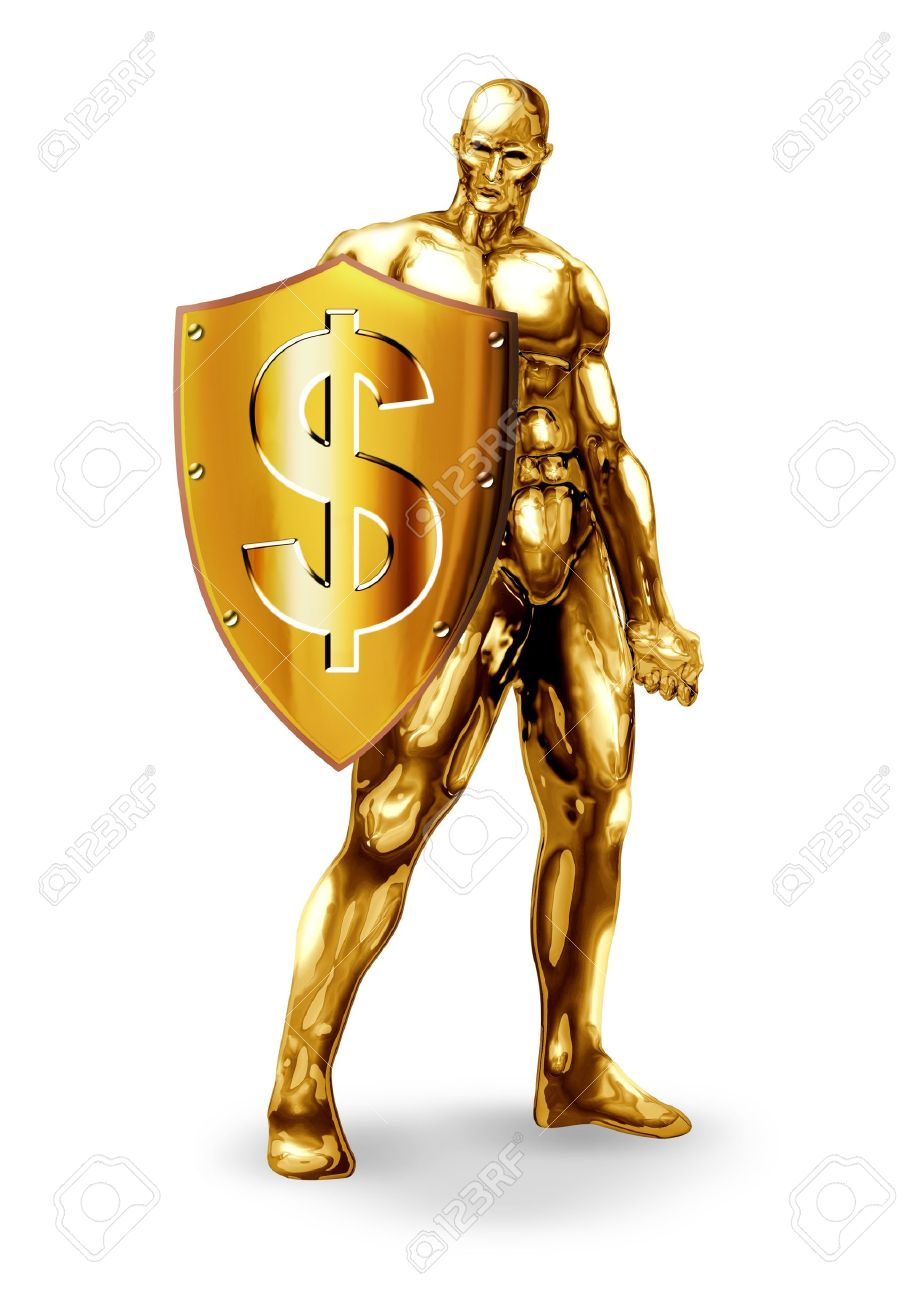 Man Of Gold : Illustration, Holding, Shield, Dollar, Symbol, Stock, Photo,, Picture, Royalty, Image., Image, 14337203.