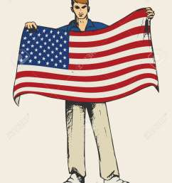 sketch illustration of a man holding american flag stock vector 46487580 [ 919 x 1300 Pixel ]