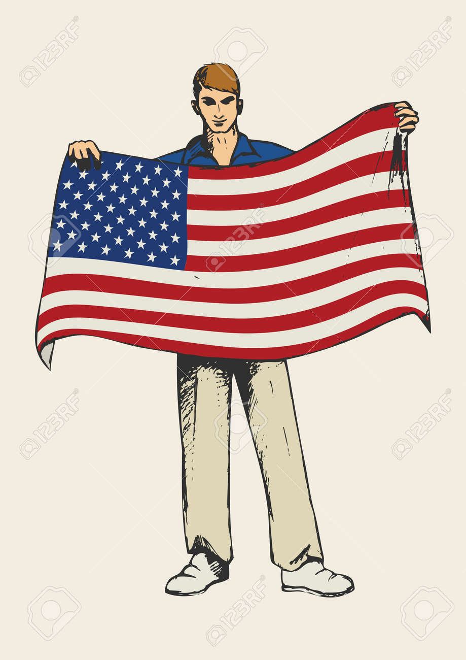 medium resolution of sketch illustration of a man holding american flag stock vector 46487580