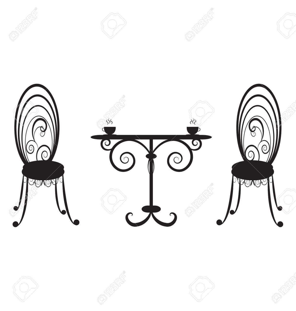 retro cafe table and chairs director chair covers big w two royalty free cliparts vectors stock vector 9470193