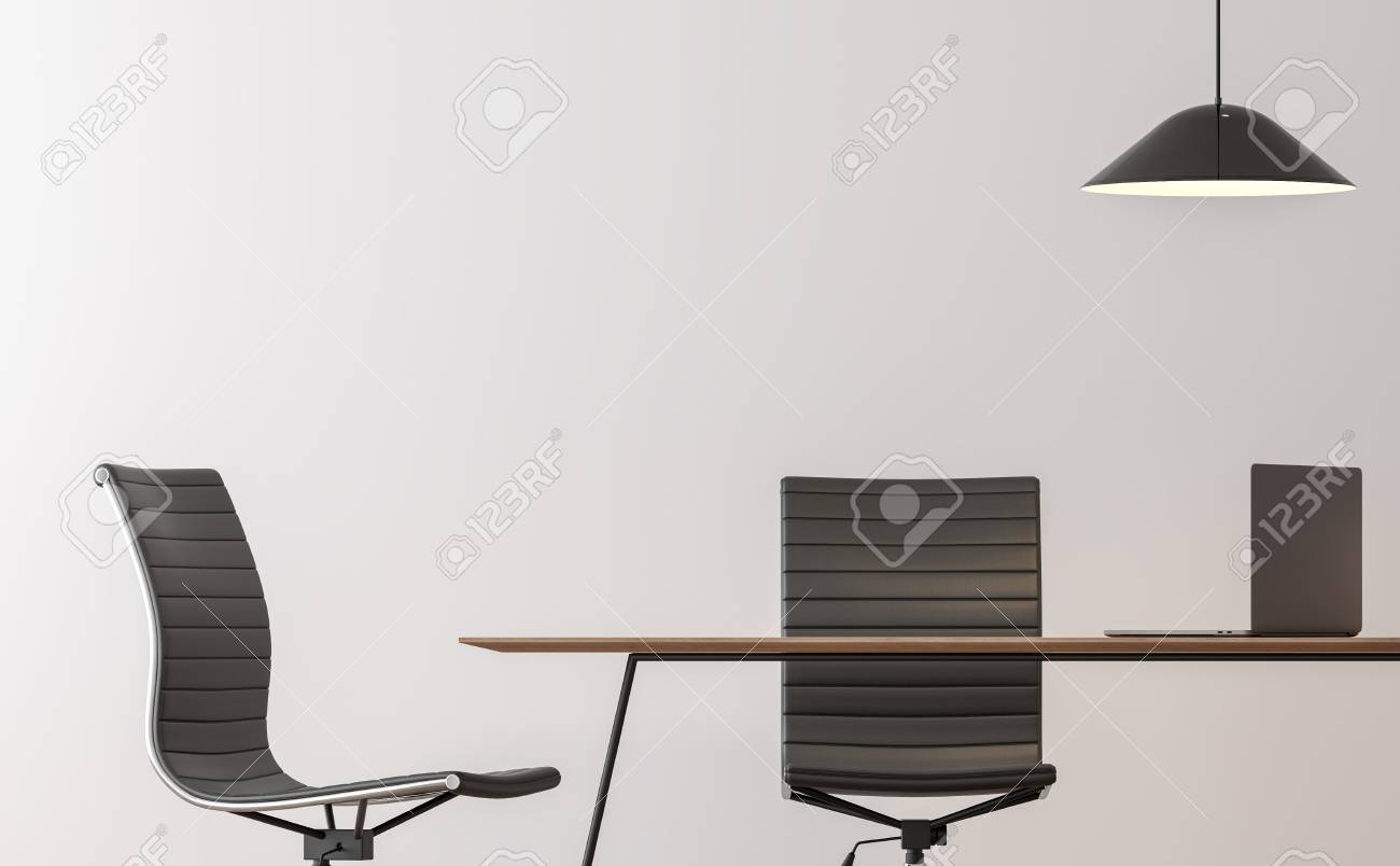 Minimalist Desk Chair Modern Working Room Interior Minimal Style Image 3d Rendering There