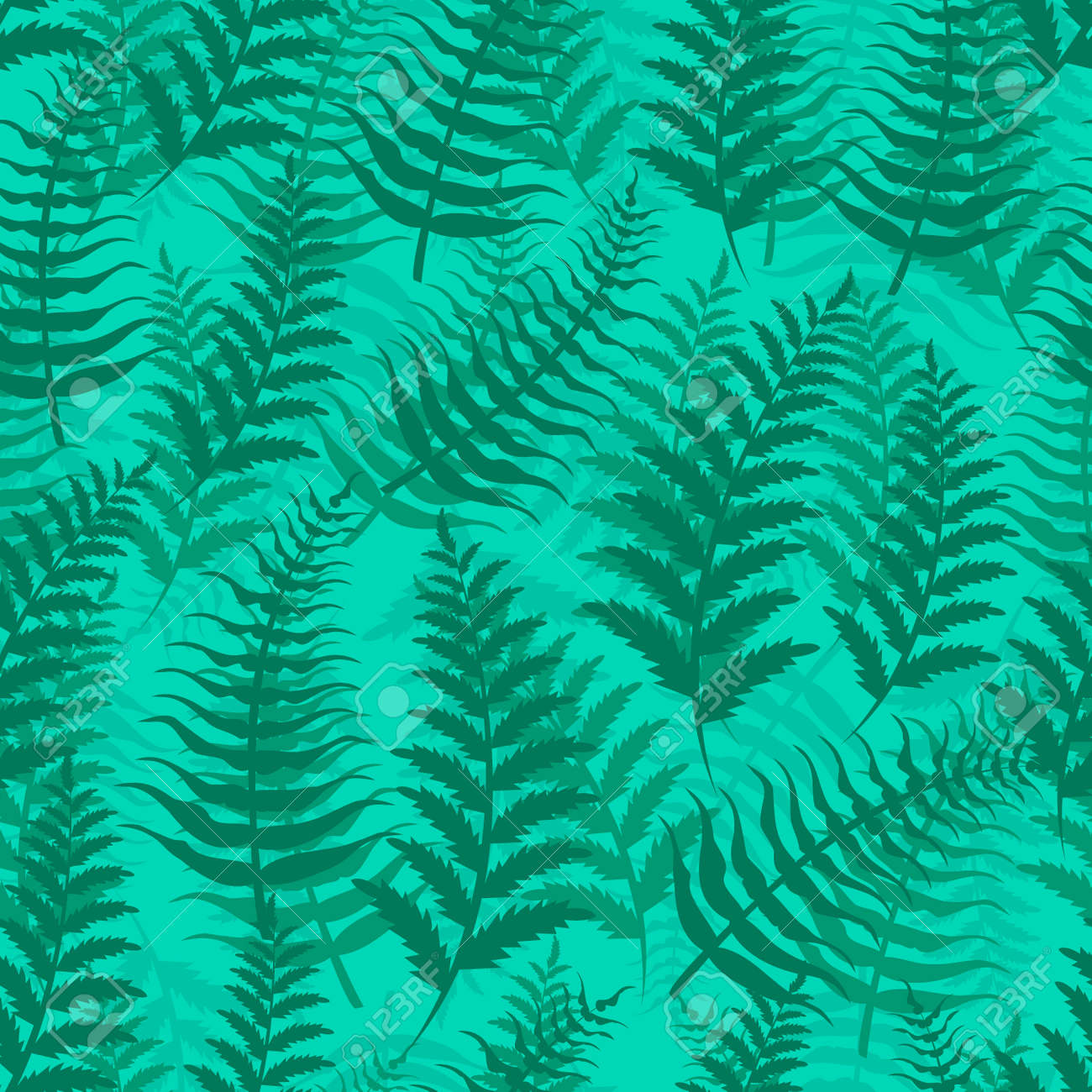 Fern Seamless Pattern Exotic Background Nature Green Leaf Plant Vector Illustration Summer Emerald Wallpaper Tropical