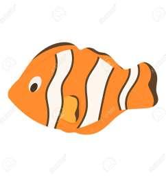 nemo fish clownfish marine anemone sea animal vector illustration underwater ocean clown orange fish  [ 1300 x 1300 Pixel ]