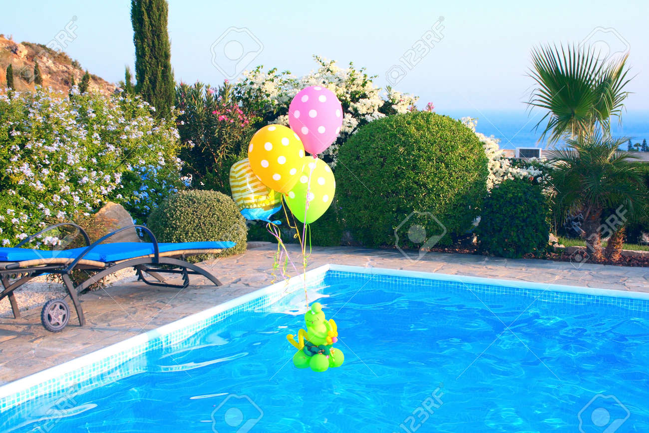 colorful balloons on swimming