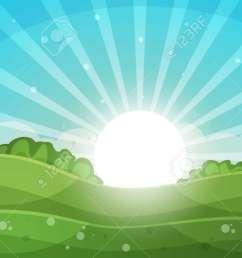 cartoon landscape abstract illustration sun ray glare hill cloud vector eps [ 1300 x 731 Pixel ]