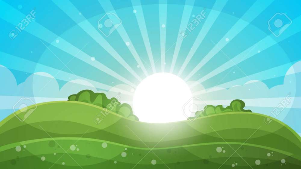 medium resolution of cartoon landscape abstract illustration sun ray glare hill cloud vector eps